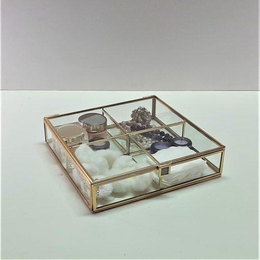 4 Bölmeli Cam kutu / Brass Glass Box