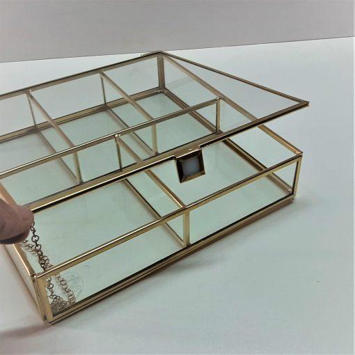 5 Bölmeli Cam Kutu / Brass Glass Box