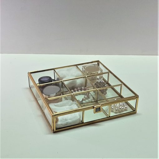 9 Bölmeli Cam Kutu / Brass Glass Box